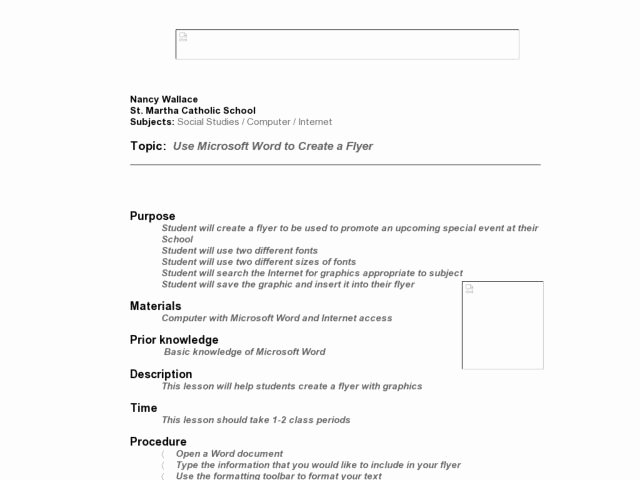 Ms Word Lesson Plans Awesome Use Microsoft Word to Create A Flyer Lesson Plan for 6th