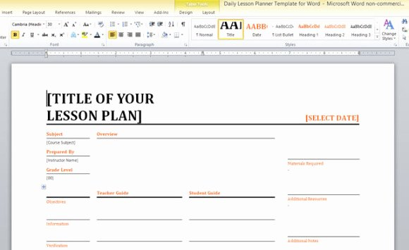 Ms Word Lesson Plans Fresh Daily Lesson Planner Template for Word
