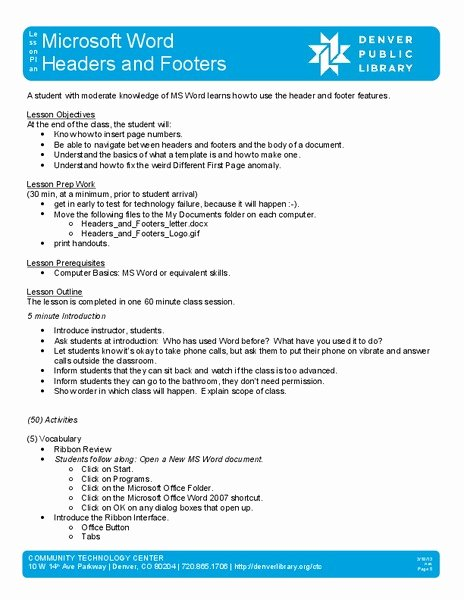 Ms Word Lesson Plans Inspirational Microsoft Word Headers and Footers Lesson Plan for 9th