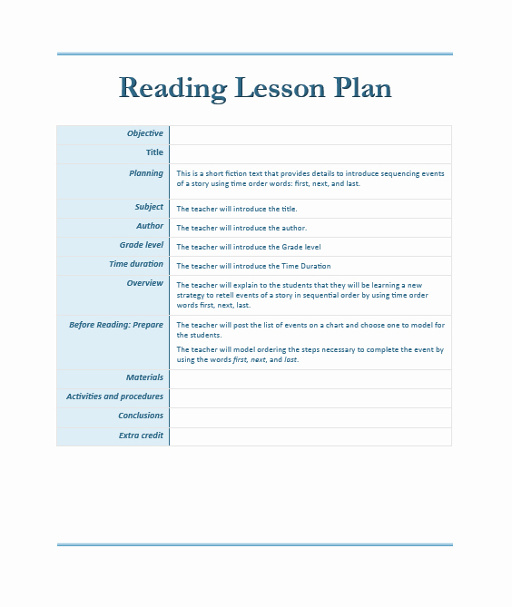 Ms Word Lesson Plans Inspirational Reading Lesson Plan Template – Microsoft Word Templates