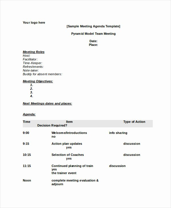 Ms Word Meeting Agenda Template Beautiful Word Agenda Template 6 Free Word Documents Download