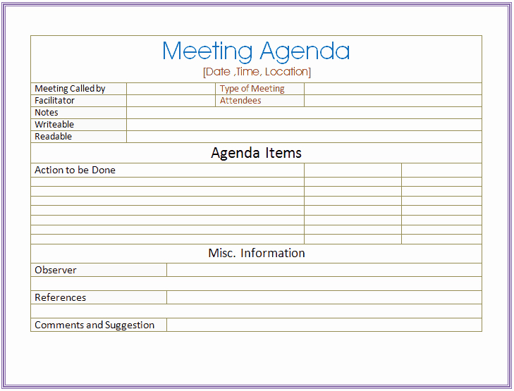 Ms Word Meeting Agenda Template Lovely 6 Meeting Agenda Templates Excel Pdf formats