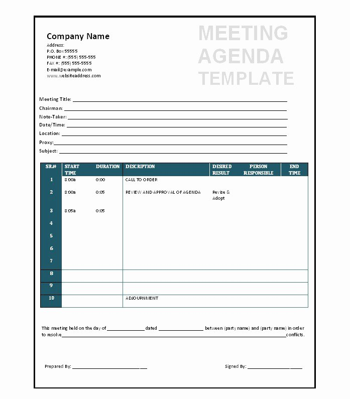 Ms Word Meeting Agenda Template Unique 51 Effective Meeting Agenda Templates Free Template