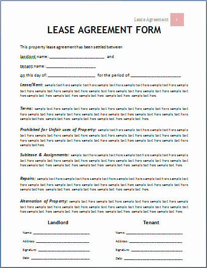 Ms Word Rental Agreement Template Elegant Ms Word Lease Agreement form Template