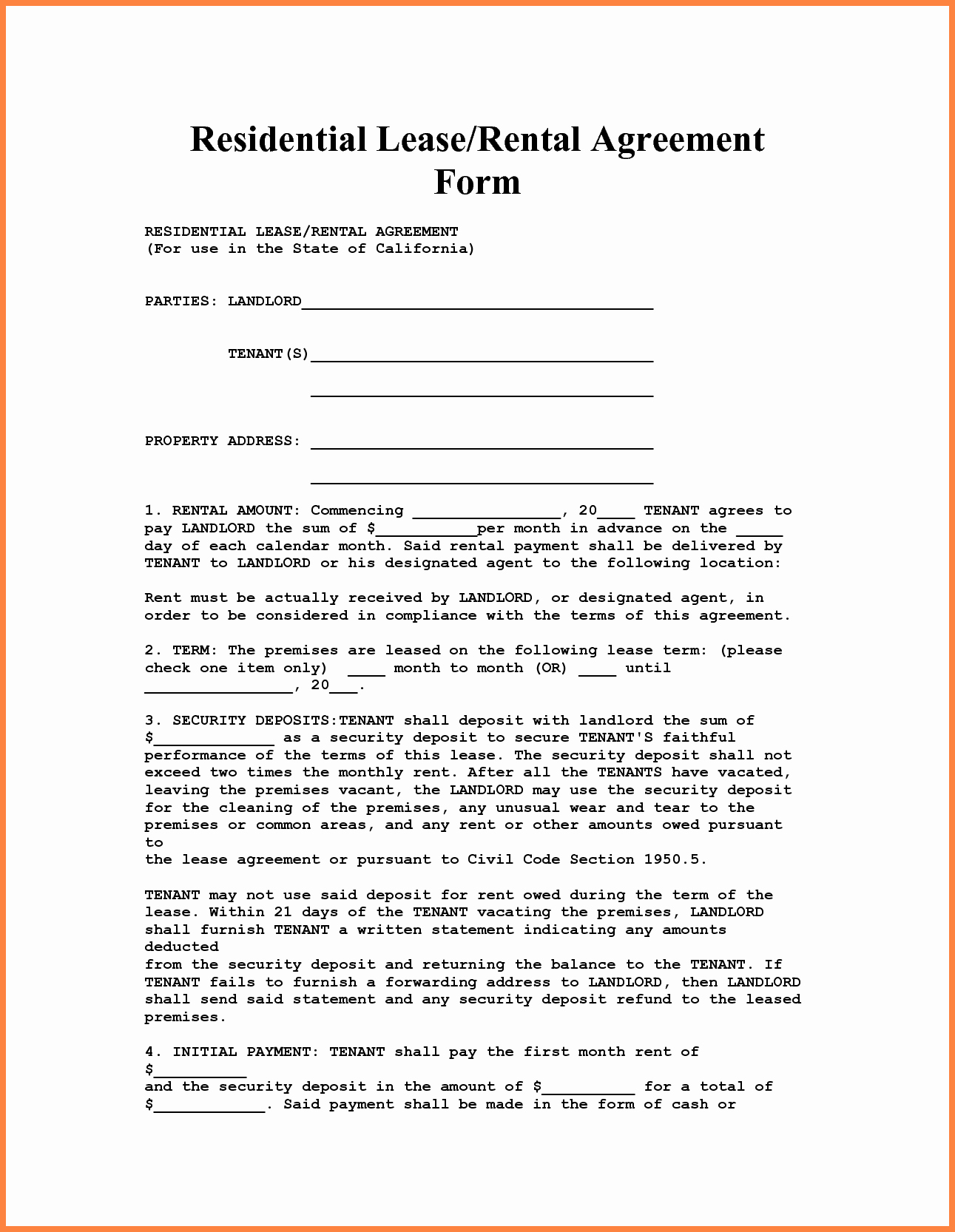 Ms Word Rental Agreement Template Fresh 4 Apartment Lease Agreement Template Word