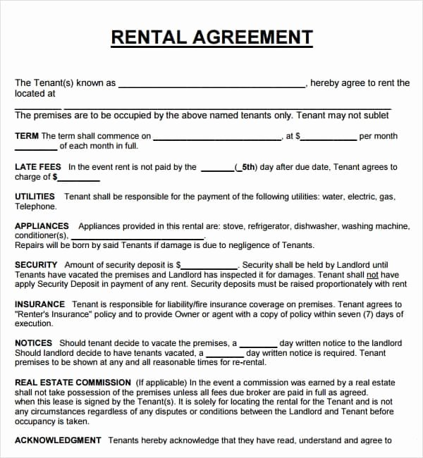 Ms Word Rental Agreement Template Inspirational 20 Rental Agreement Templates Word Excel Pdf formats