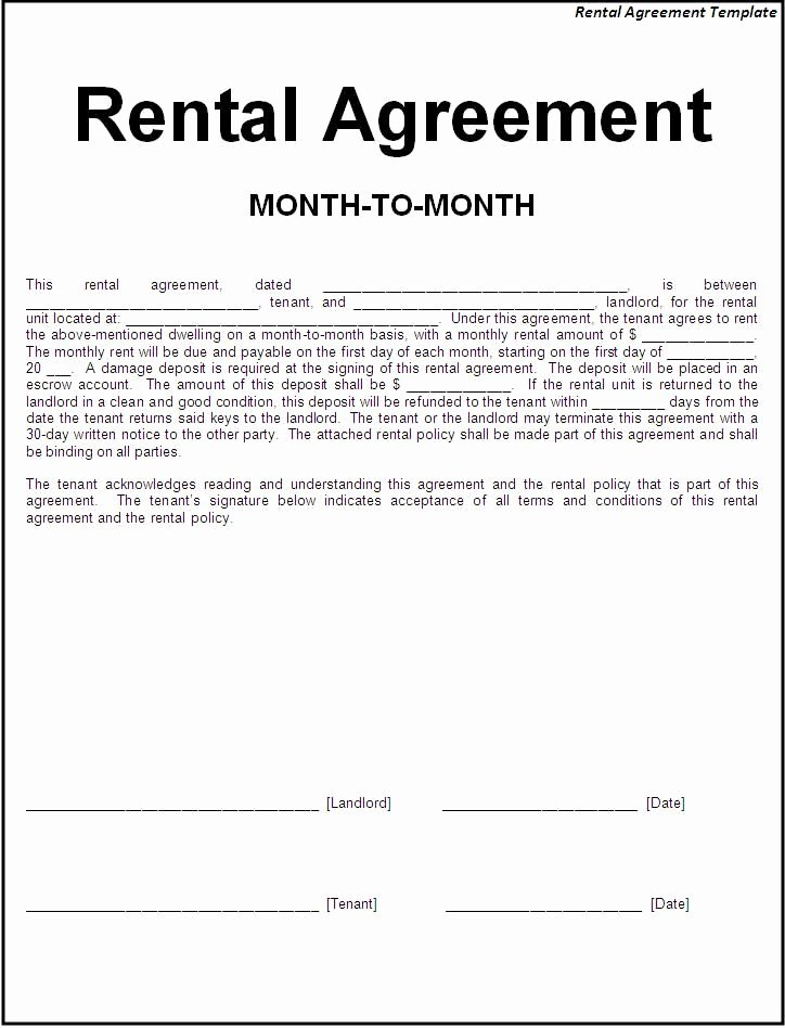 Ms Word Rental Agreement Template Inspirational 30 Basic Editable Rental Agreement form Templates Thogati