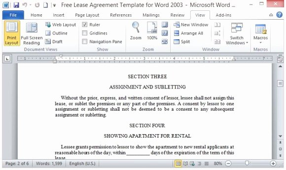 Ms Word Rental Agreement Template Lovely Free Lease Agreement Template for Word