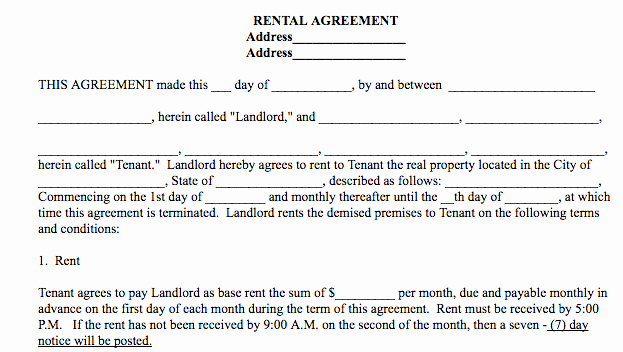 Ms Word Rental Agreement Template Luxury Basic Rental Agreement In A Word Document for Free