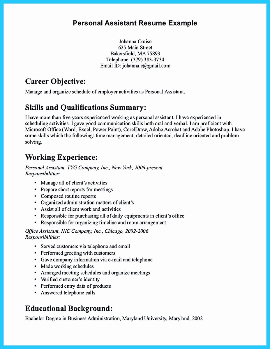 Ms Word Resume Examples Inspirational Writing Your assistant Resume Carefully