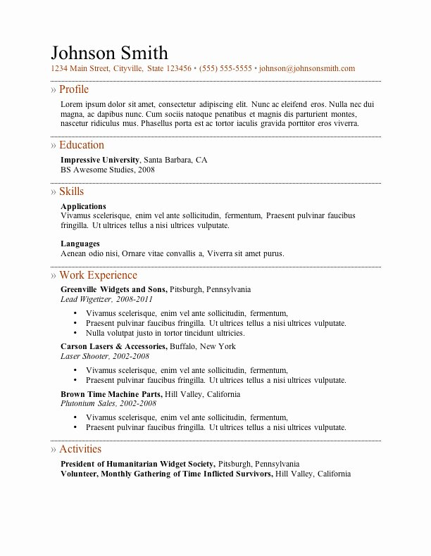 Ms Word Resume Examples Luxury My Perfect Resume Templates