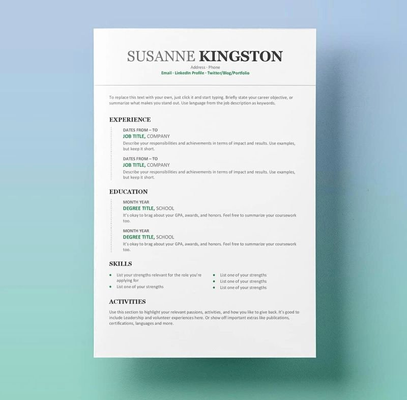 Ms Word Resume Examples New 15 Resume Templates for Word Free to Download