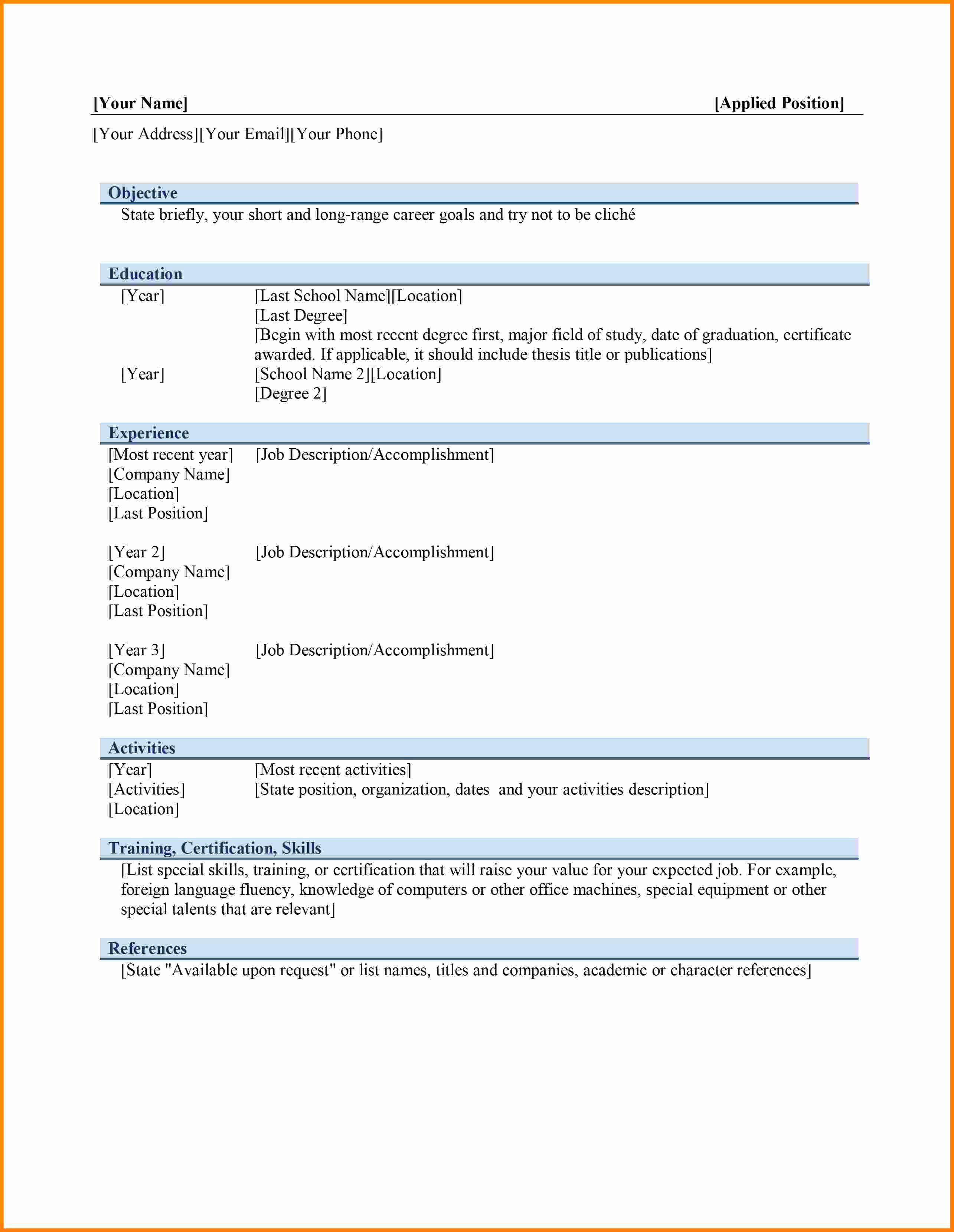 Ms Word Resume Examples Unique 6 Curriculum Vitae In Ms Word