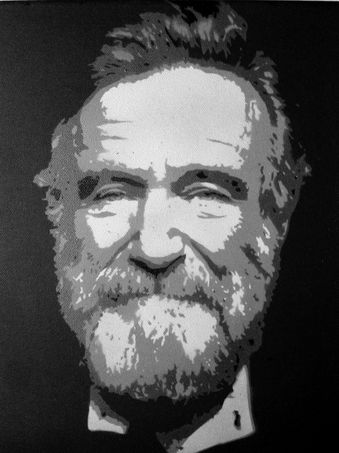 Multi Layer Stencil Art Beautiful Robin Williams Multi Layer Stencil Painting On Black Canvas 11