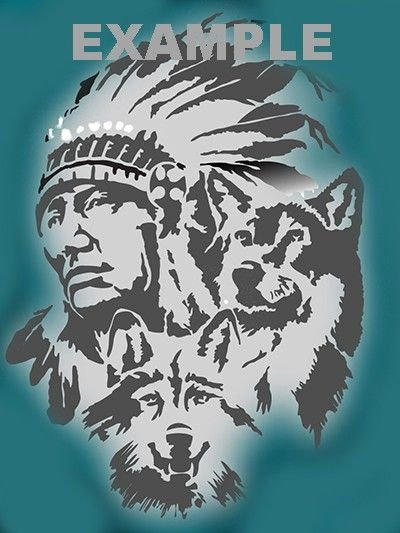 Multi Layer Stencil Templates Fresh Indian and Wolfs Airbrush Stencil Multi Layer