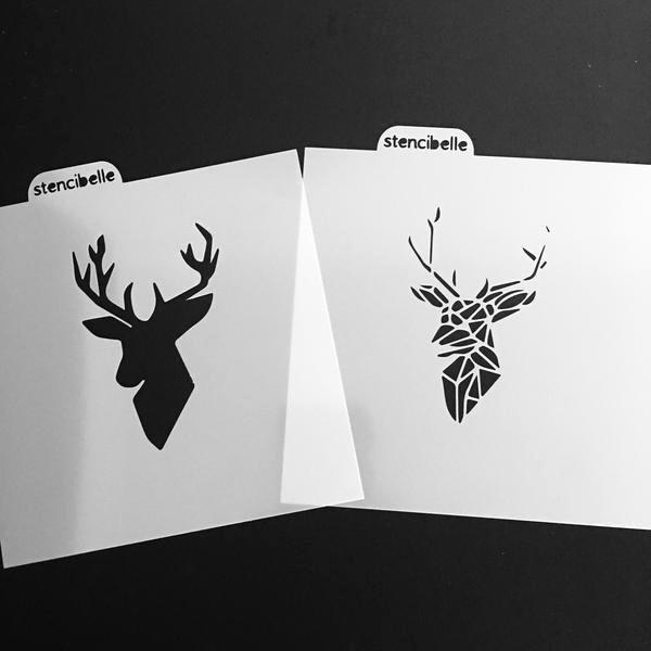 Multi Layer Stencils for Sale Beautiful Geo Deer Head Stencil 2 Piece 2 Size – Stencibelle