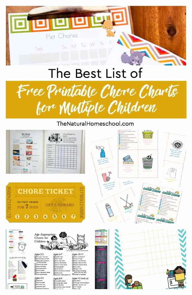 Multiple Child Chore Chart Lovely the Best List Of Free Printable Chore Charts for Multiple