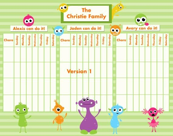 Multiple Children Chore Chart Awesome Customizable Reward Chore Chart for Multiple Children