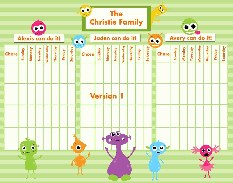 Multiple Children Chore Chart Unique Customizable Reward Chore Chart for Multiple Children Silly