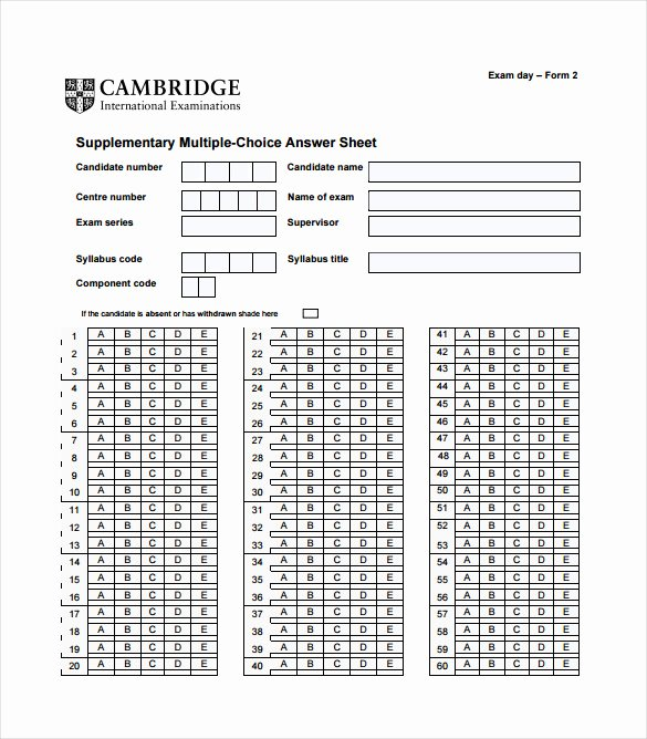 Multiple Choice Answer Sheet Awesome 11 Answer Sheet Templates Pdf Doc