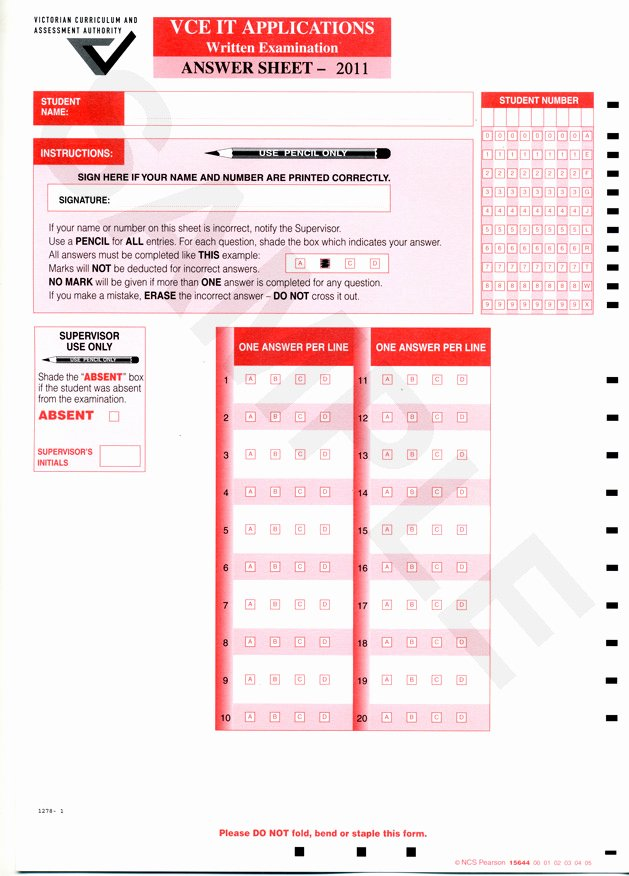 Multiple Choice Answer Sheet Best Of Vce It Lecture Notes Exam Tips Vceit Lecture Notes