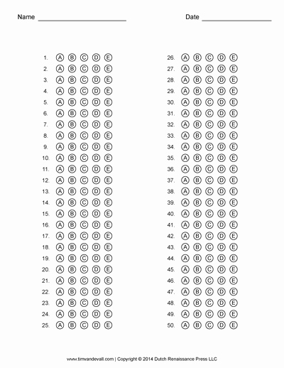 Multiple Choice Test Template Lovely Free Answer Sheet Templates Pdf for Multiple Choice Tests