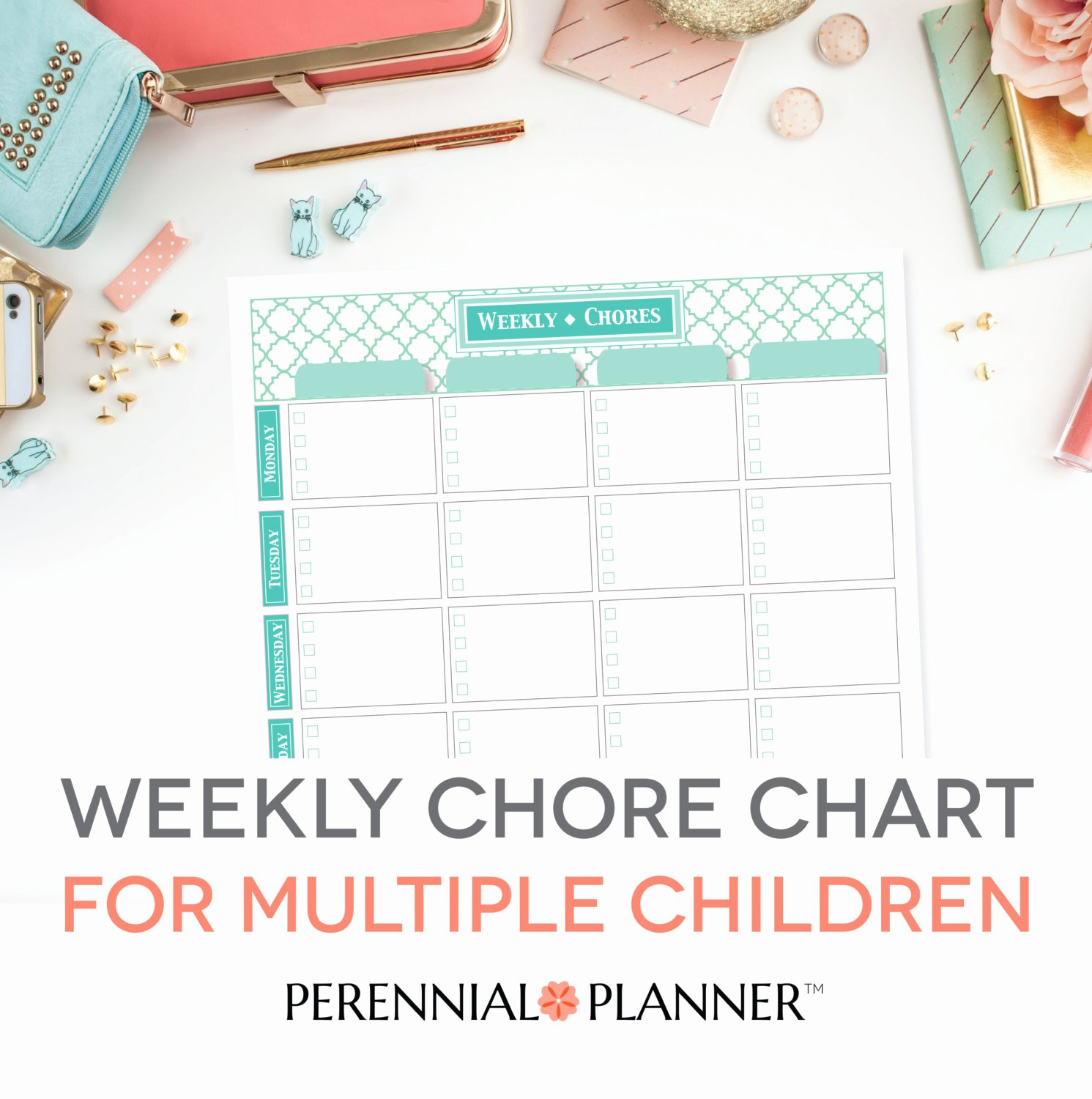 Multiple Kids Chore Chart New Chore Chart Multiple Children Printable Editable Pdf