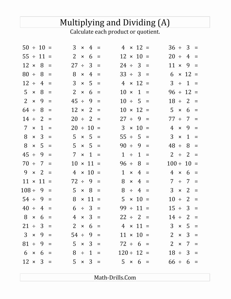 Multiplication and Division Worksheets Best Of 100 Horizontal Multiplication Division Questions Facts 1