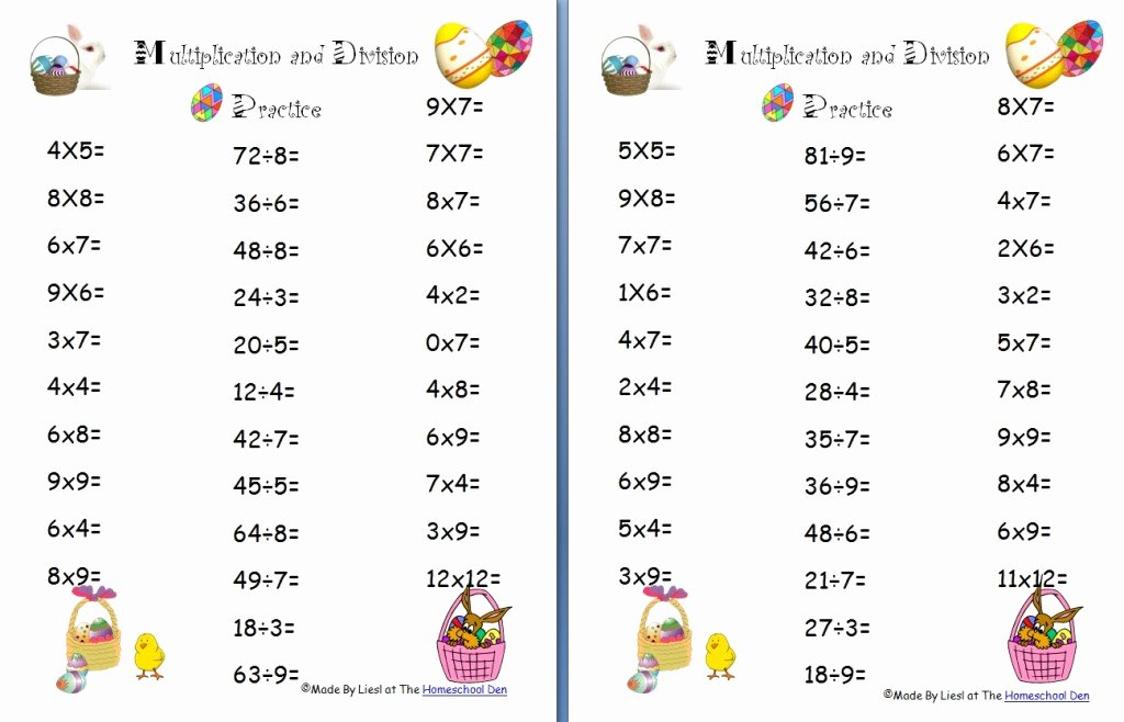 Multiplication and Division Worksheets Inspirational Free Easter Multiplication and Division Worksheets