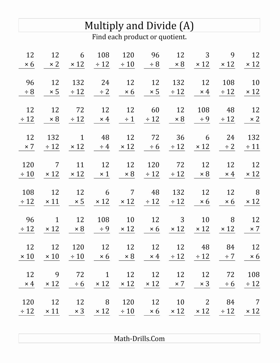Multiplication and Division Worksheets Inspirational Multiplying and Dividing by 12 A
