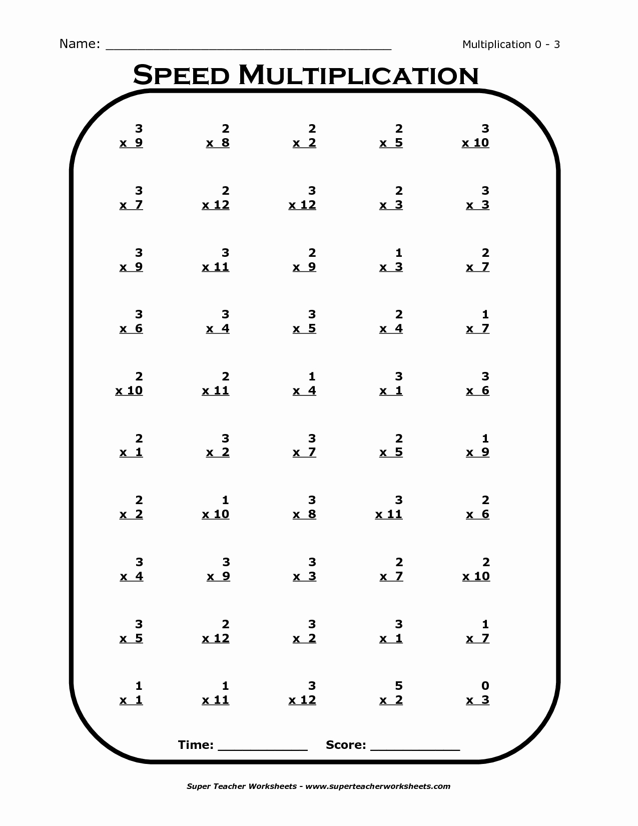 Multiplication Table Worksheet New Times Tables Worksheets 3rd Grade