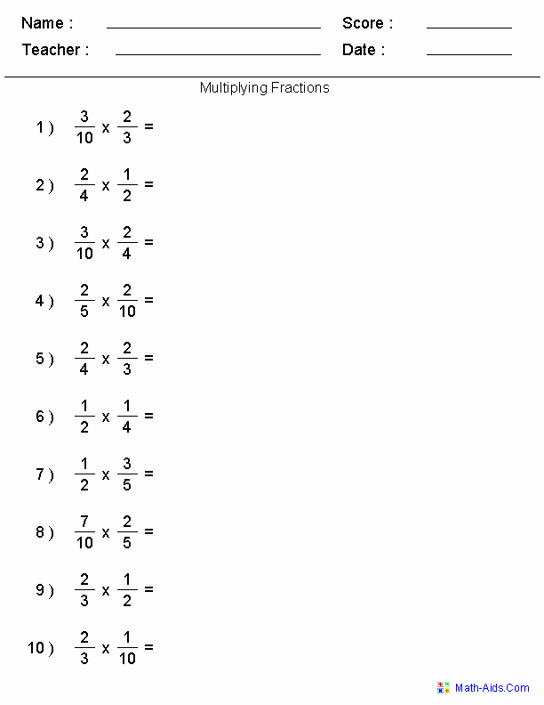 Multiplying Fractions Worksheets with Answers Best Of Fractions Worksheets