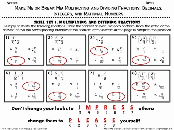 Multiplying Fractions Worksheets with Answers Inspirational $ Fun Math Worksheet Answer Key E Of the Four Skills