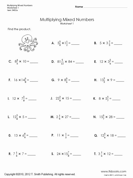 Multiplying Fractions Worksheets with Answers Luxury Multiplying Mixed Numbers Worksheets 1 and 2