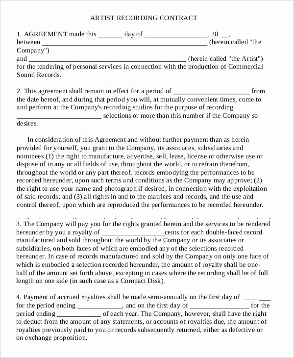 Music Producer Agreement Template Awesome Recording Contract Template the Truth About Recording