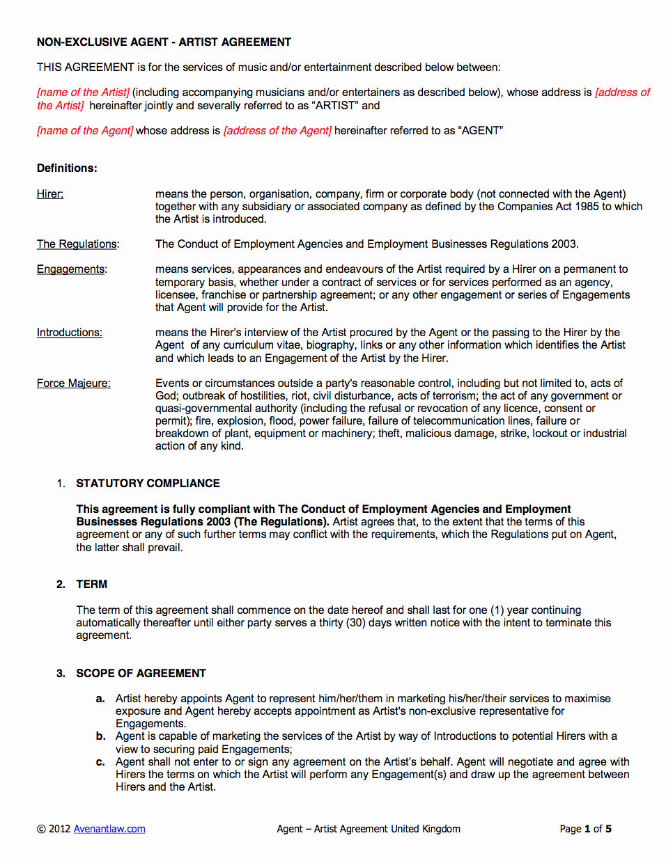 Music Producer Agreement Template Elegant Agency Artist Contract Template Uk Use Only