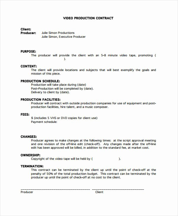 Music Producer Agreement Template Lovely Production Contract Template 9 Free Word Pdf format