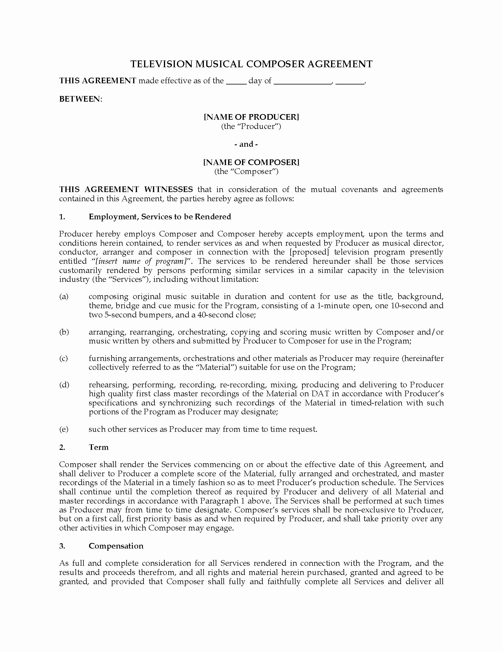 Music Producer Agreement Template New Television Music Poser Agreement