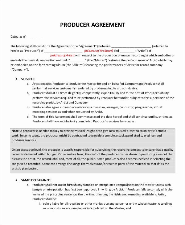 Music Producer Agreement Template Unique 10 Music Contract Samples & Templates Pdf Word Google