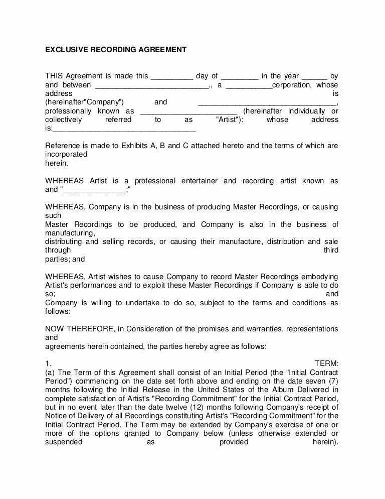 Music Producer Agreement Template Unique Artist Recording Contract 3