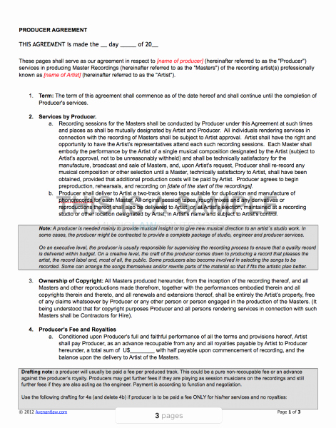 Music Producer Agreement Template Unique Producer Contract Template Pro Artist