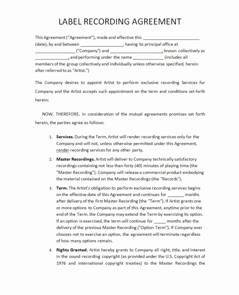 Music Producer Agreement Template Unique Record Label Agreements