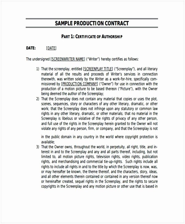 Music Production Contract Template Best Of Music Producer Contract