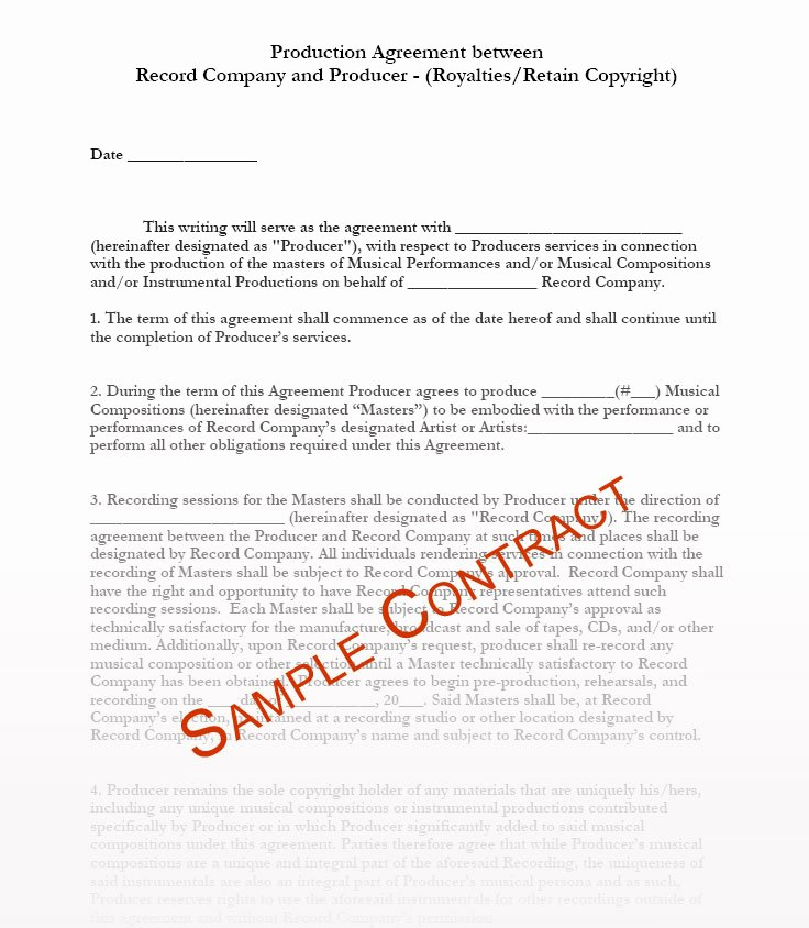 Music Production Contract Template Best Of Music Producer Contract Templates Music Production