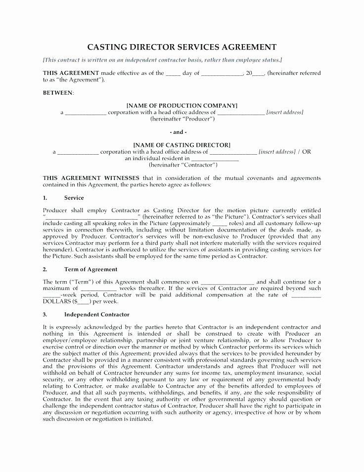Music Production Contract Template Elegant Film Directors Agreement Template 9 Director Agreement