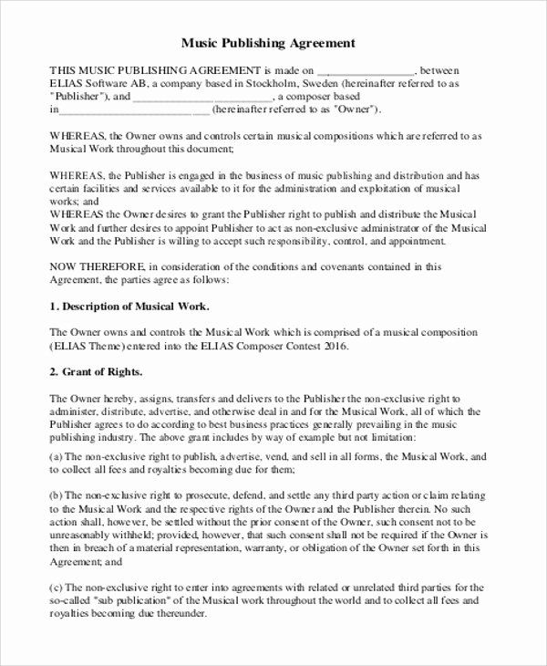 Music Production Contract Template Inspirational Music Agreement Contract Sample 7 Examples In Word Pdf