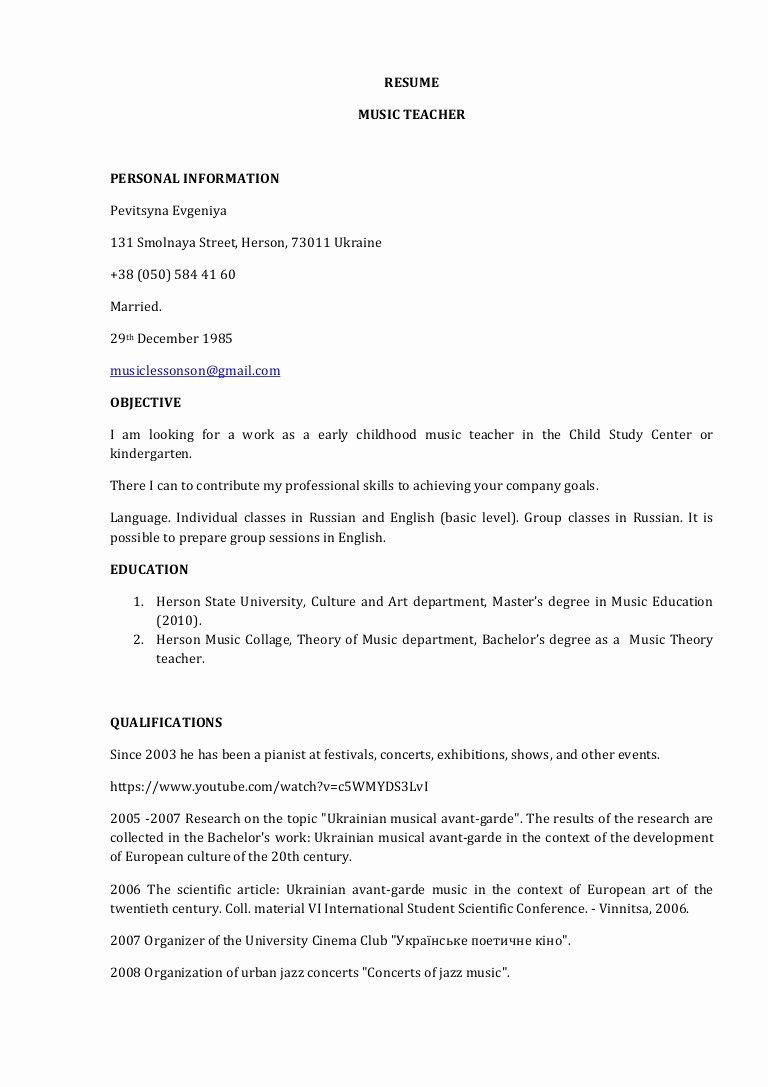 Music Teacher Resume Sample Best Of Resume Music Teacher