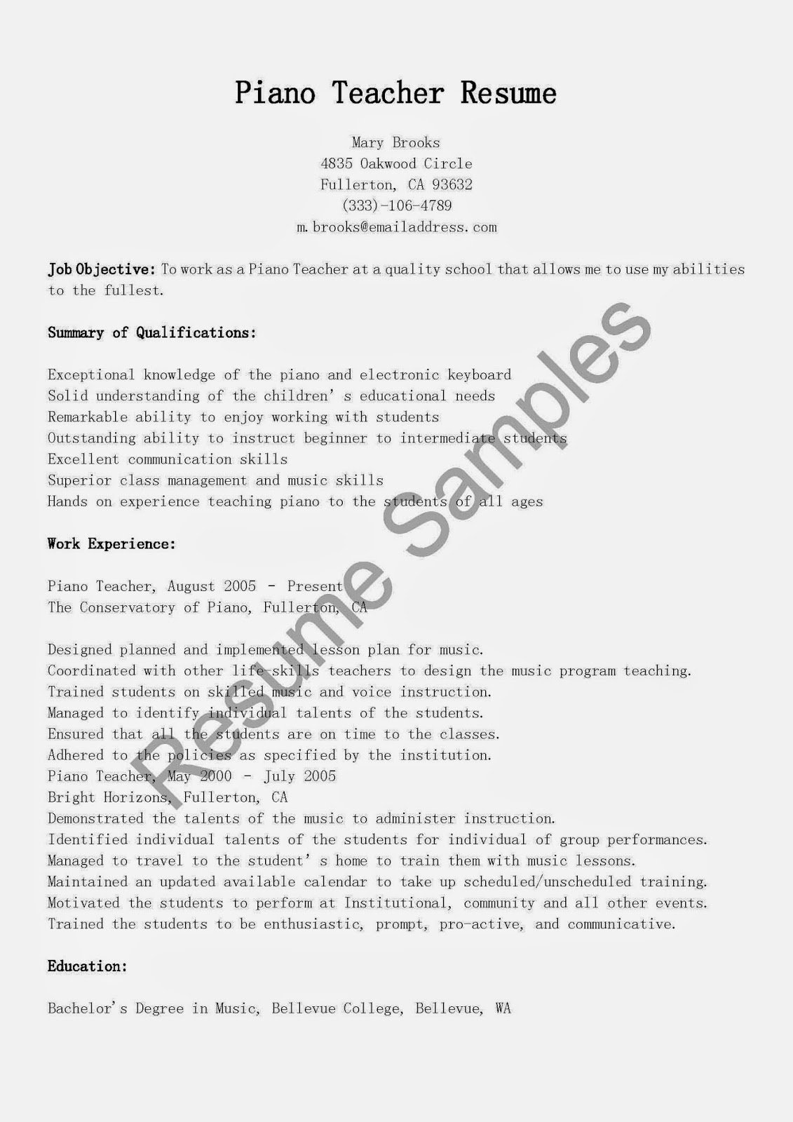 Music Teacher Resume Sample Inspirational Resume Samples Piano Teacher Resume Sample
