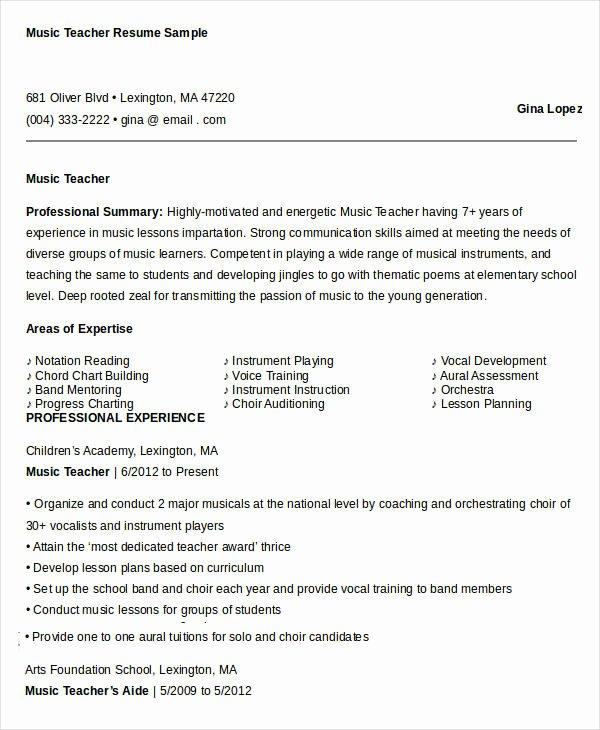 Music Teacher Resume Sample Lovely Free Teacher Resume 40 Free Word Pdf Documents
