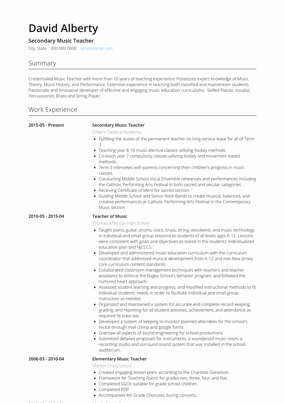 Music Teacher Resume Sample Lovely Music Teacher Resume Samples and Templates